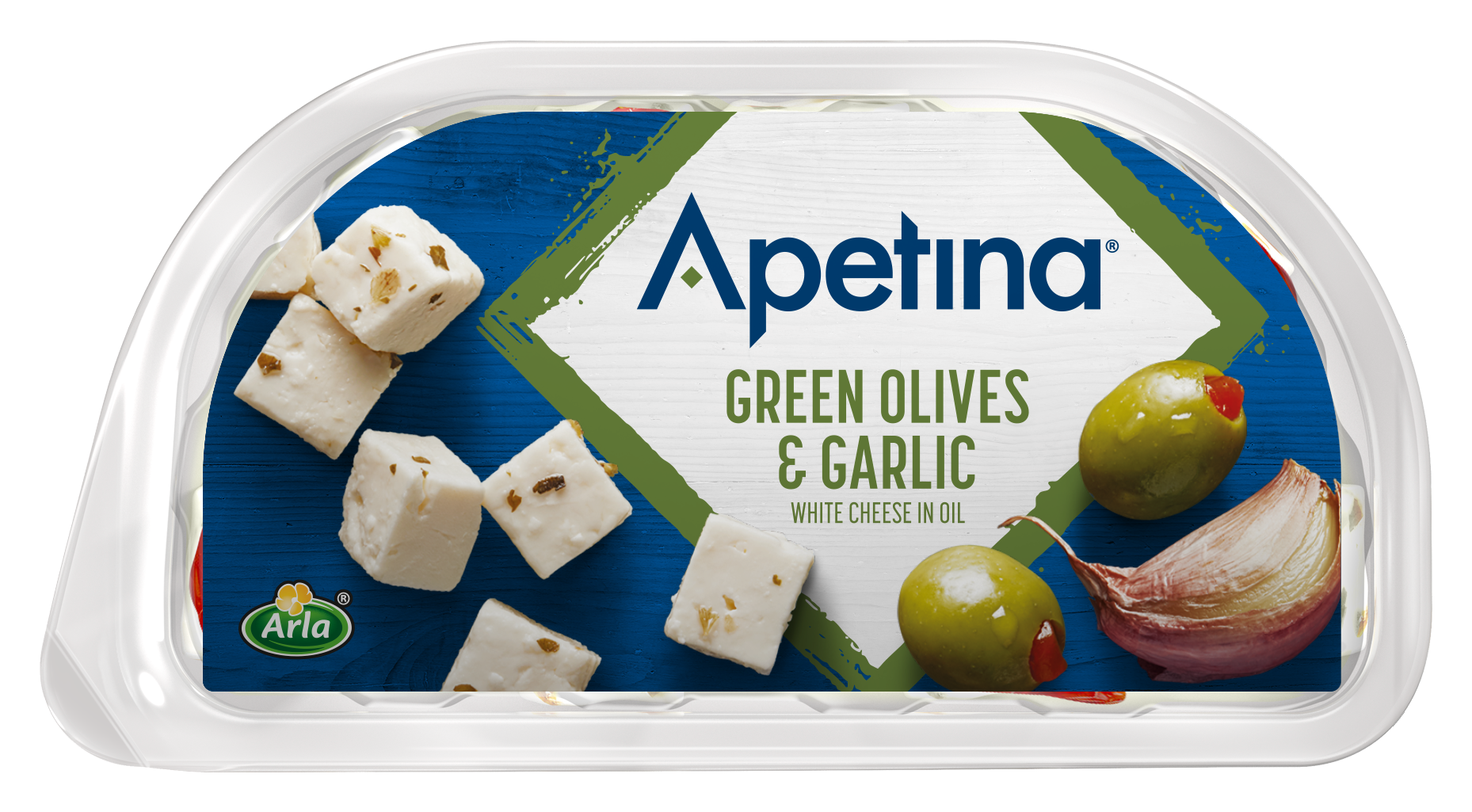 Apetina® Apetina white cheese cubes in oil green Olives & Garlic 100 g