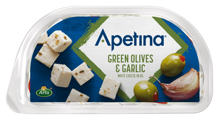 Apetina white cheese cubes in oil green Olives & Garlic 100 g